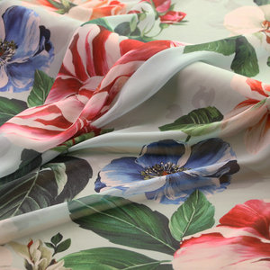 Синий большой цветочный принт, мягкая шифоновая ткань, тонкая шифоновая ткань для летнего платья, женская одежда DIY, лоскутный материал tissu
