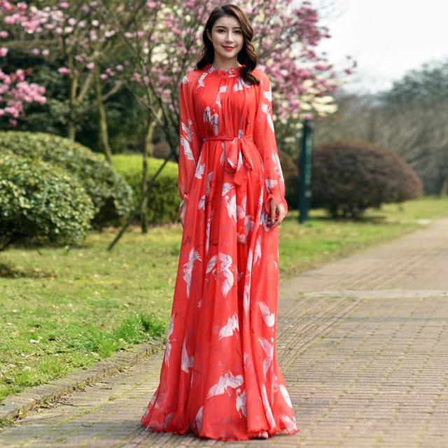 Long Sleeve Bohemian Chiffon Floral Long Plus Size Summer Wedding Guest Beach Holiday Floryday Maxi Dress Bridesmaid Sundress 1