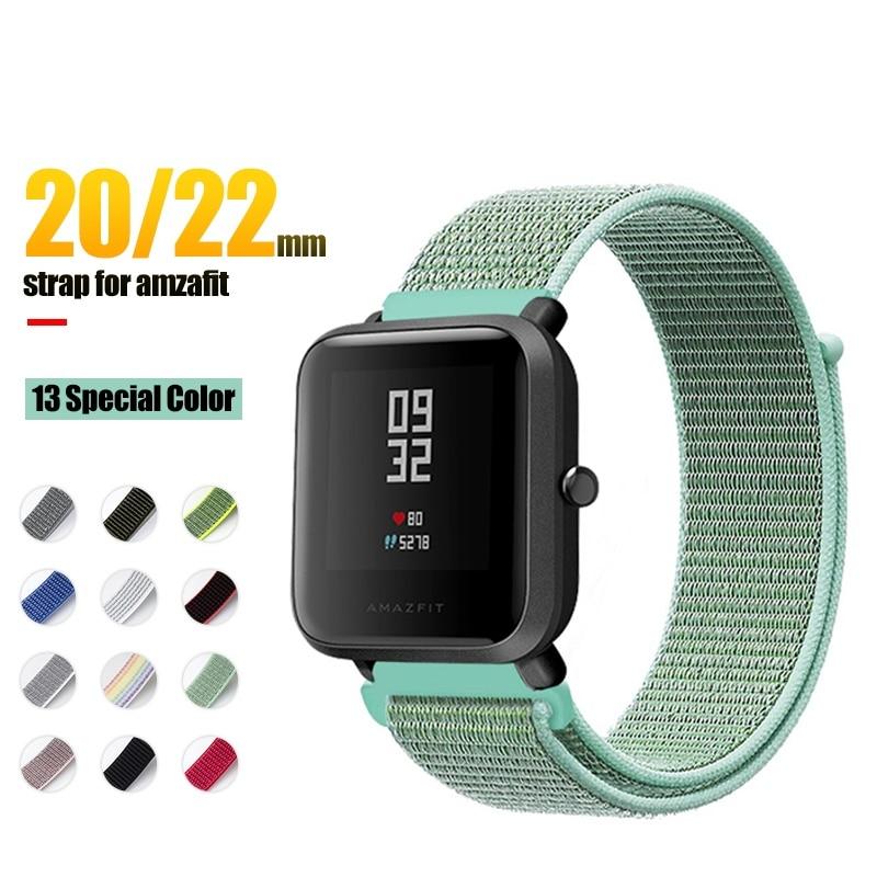 18/20/22mm Nylon Sport Strap For Xiaomi Mi Watch Amazfit Bip Gts Gtr Strap Bracelet For Huami Amazfit Pace Stratos Gtr 42 47mm