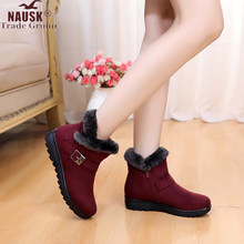Winter Women Ankle Boots New Fashion Flock Wedge Platform Winter Warm Red Black Snow Boots Shoes For Female Plus Size 40 41(China)