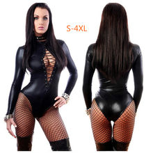 Erótico sexy látex bondage bodysuit sexi teddy lingerie feminino peito expondo macacão roupas de couro vestido catsuit para o sexo