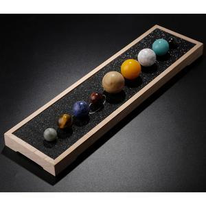 Image 4 - نموذج النظام الشمسي للكواكب من TUMBEELLUWA مكتب الحلي الكريستالية ديكور المنزل شقرا للأحجار الكريمة الكرة الأرضية مع قاعدة خشبية للشفاء