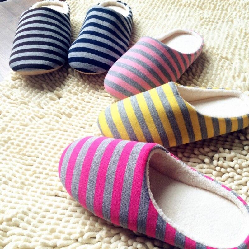 Femmes rayé intérieur pantoufles unisexe femmes maison chaussures antidérapant chaud automne hiver coton plancher pantoufles