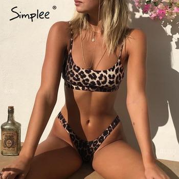 Simplee Leopard print bikinis 2019 mujer Sexy swimsuit female Push up swimwear women bathing suit biquini Summer beach wear new 1