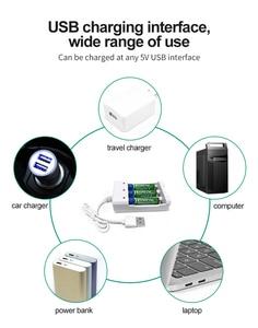 Image 5 - VOXLINK cargador de batería USB con 3 ranuras, cable USB para cargador de pilas recargables AA/AAA para cámara de micrófono de control remoto