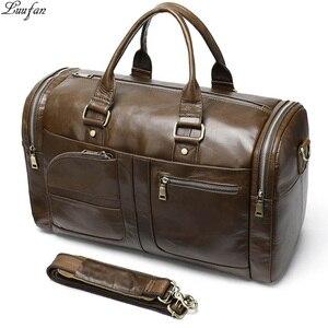 Мужская спортивная сумка из натуральной коровьей кожи, Вместительная дорожная сумка из мягкой кожи, деловая сумка для мужчин и женщин, боль...