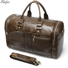 Genuine cow leather man duffel bag big capacity soft leather