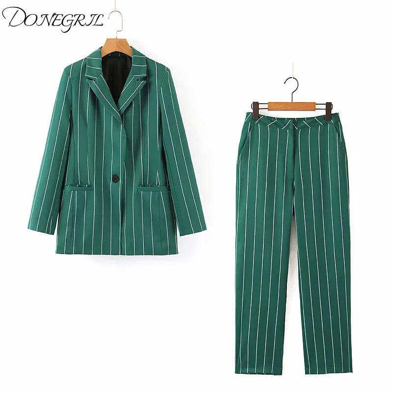 2019 Autumn Women's Sets Vintage Stylish Green Striped Blazer Female Outerwear Chaqueta Mujer High Waist Pant Suits