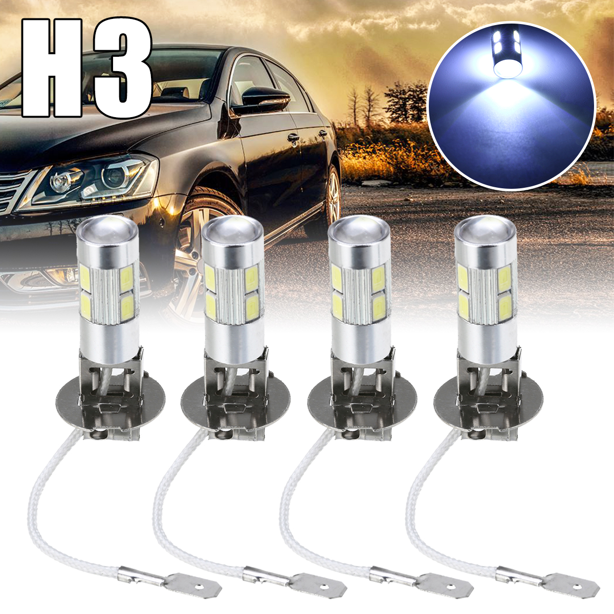 4Pcs Car Light H3 5630 10SMD LED Car Fog Driving Light Lamp Bulb White Auto Head Lamp Bulb Fog Lights