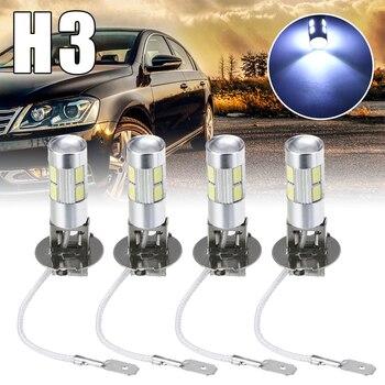 цена на 4Pcs Car Light H3 5630 10SMD LED Car Fog Driving Light Lamp Bulb White Auto Head Lamp Bulb Fog Lights