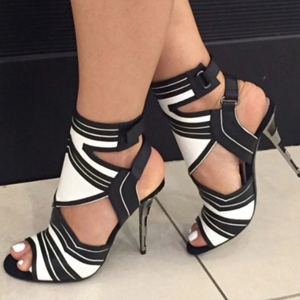 Women S Open Peep Toe High Heel Shoes PU Leather Thin Stiletto Sandals Summer Pumps