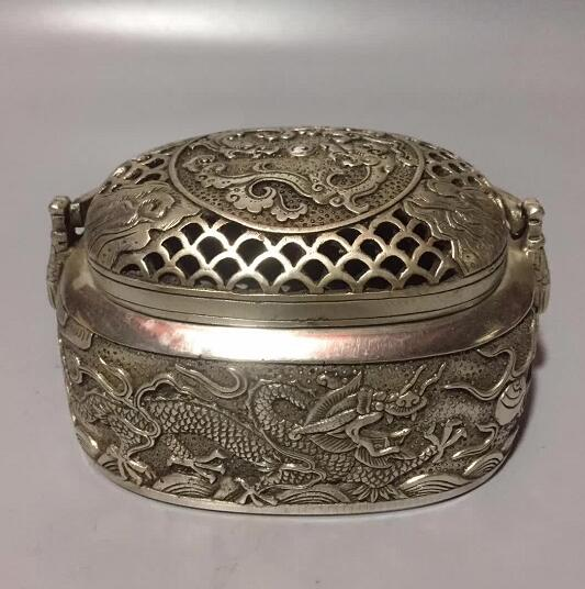 Chinese Tibet Silver Handmade Carved Flower Incense Burner Double Dragon Play Bead Handwarmer Censer Statue Home Decoration
