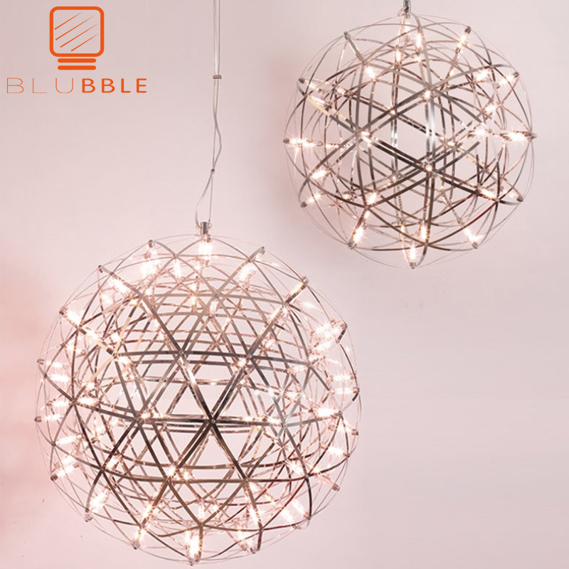 Firework LED Pendant Modern Creative Lights Stainless Steel Large Ball Lighting Fixture Hanging Lamps For Hotel Hall Decoration