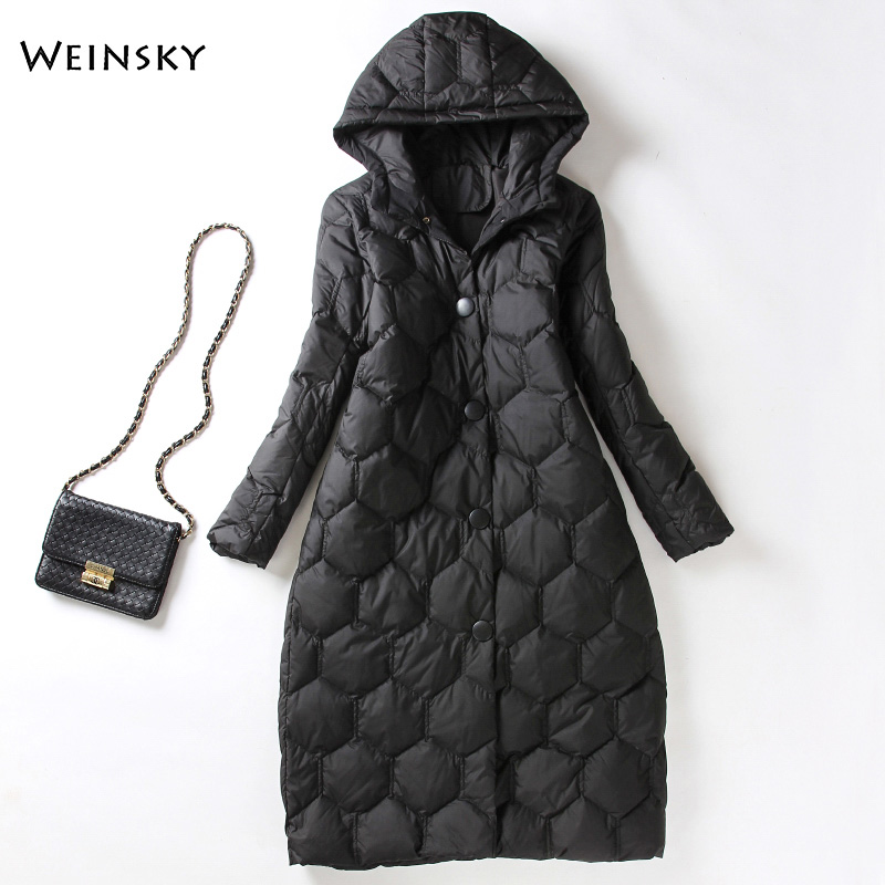 Winter Women Long Down Jacket White Duck Down Jackets Warm Coat Parka Female Elegant Outwear