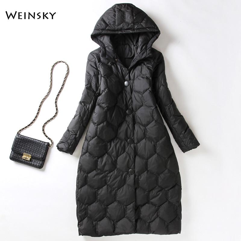 Winter Women Long Down Jacket White Duck Down Jackets Warm Coat Parka Female Elegant Outwear