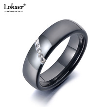 Lokaer Trendy Black Ceramic Crystal Wedding Rings Jewelry For Women Stainless Steel White Clay Rhinestone Engagement Ring R19069
