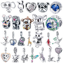 fit original Pandora bracelet 925 silver animal collection beads elephant pug puppy cute green oriole fashion DIY charms jewelry