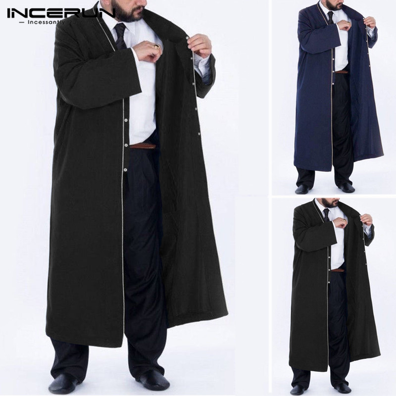 INCERUN Muslim V-neck Warm Solid Color Men Long Coat   Trench   Long Sleeve Casual Kaftan Loose Button Down Autumn   Trench   Abrigos