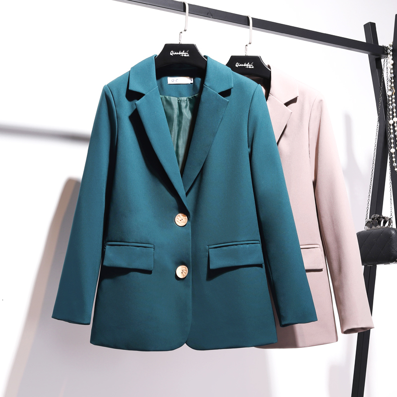 [LANMREM] 2019 Autumn And Winter New Products Fashion Lapel Long Sleeve Two Buckle Rounded Small Suit Short Jacket PA755