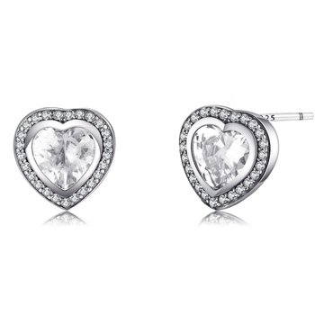 Love Heart CZ Stud Sterling Silver Earrings  1