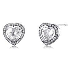 Sterling Silver CZ Stud Love Heart Earrings Jewelry