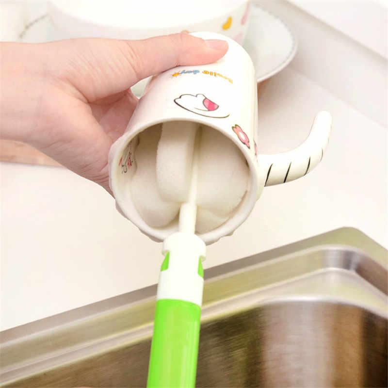 Narzędzia do czyszczenia butelek z wodą termos długa rączka szczotki z gąbki nietoksyczny odpinany szczotka do czyszczenia szklana butelka na mleko do mycia