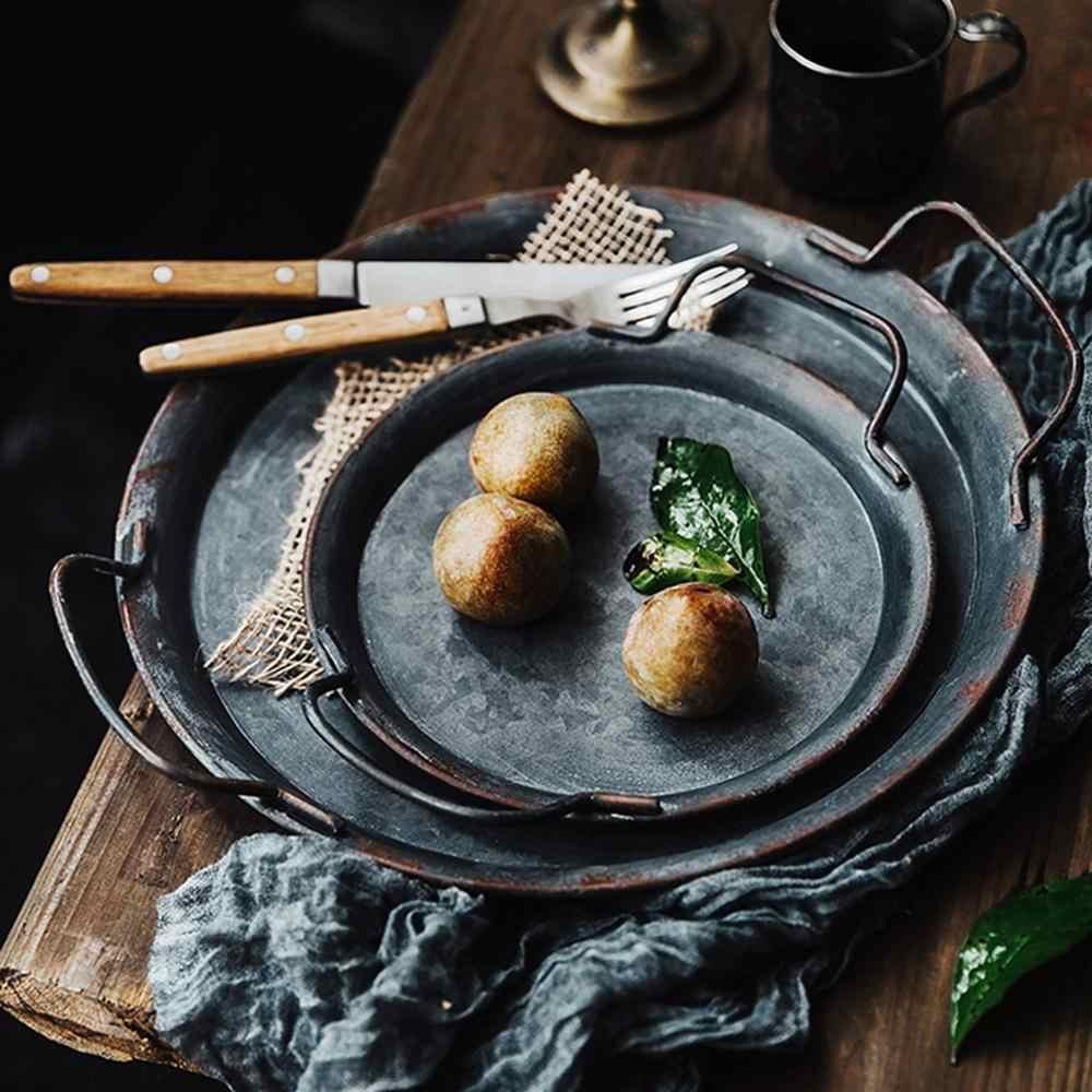 الكلاسيكية الرجعية تخزين مستديرة الحديد صينية الخبز المطاوع التصوير الدعائم إكسسوارات ديكور منزلي اكسسوارات المطبخ