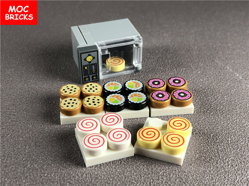 Set Sale MOC Bricks DIY Microwave Oven Food Biscuits Sushi Donut Sugar Educational Building Blocks Toys For Children Xmas Gifts