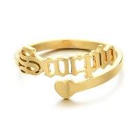 Anillo de acero inoxidable dorado con 12 anillos de constelaciones, joyería ajustable con letras inglesas antiguas, cáncer, regalo de cumpleaños