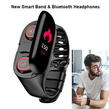 New M1 Smart Band Bracelet & Wireless Bluetooth Earphone Blood Pressure 10M Distance Connect IP67 Waterproof Sport Wristband