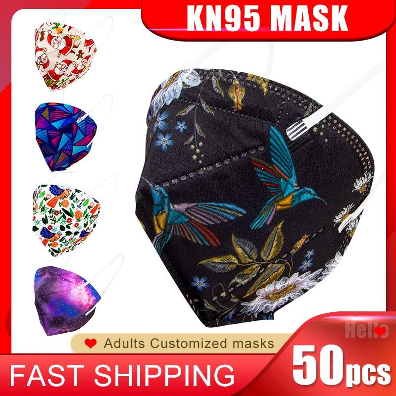 ¡Envío rápido! Mascarilla facial KN95 desechable de 4 capas, máscara transpirable antipolvo, personalizada, a la moda, ffp2, kn95, 50 Uds.