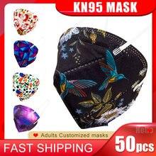 Expédition rapide! Masque facial jetable de noël KN95, 50 pièces, 5 plis, Anti-poussière, respirant, à la mode, couverture buccale personnalisée ffp2, kn95
