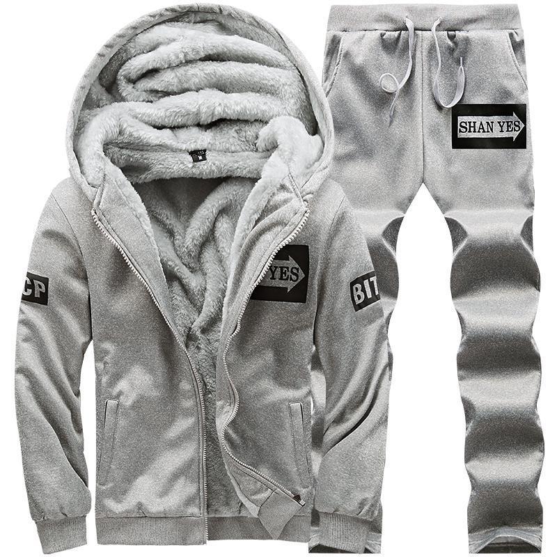 M-4XL Winter Men Sweat Suit Set Warm Streetwear Fleece Suit Women Two Piece Set Long Sleeve Hooded Coat + Pants Sweat Suits Men