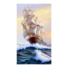 sailboat sea scenic Moge Diamond Painting oil Full Round vertical plate New DIY Toy sticking drill cross embroidery 5D simple