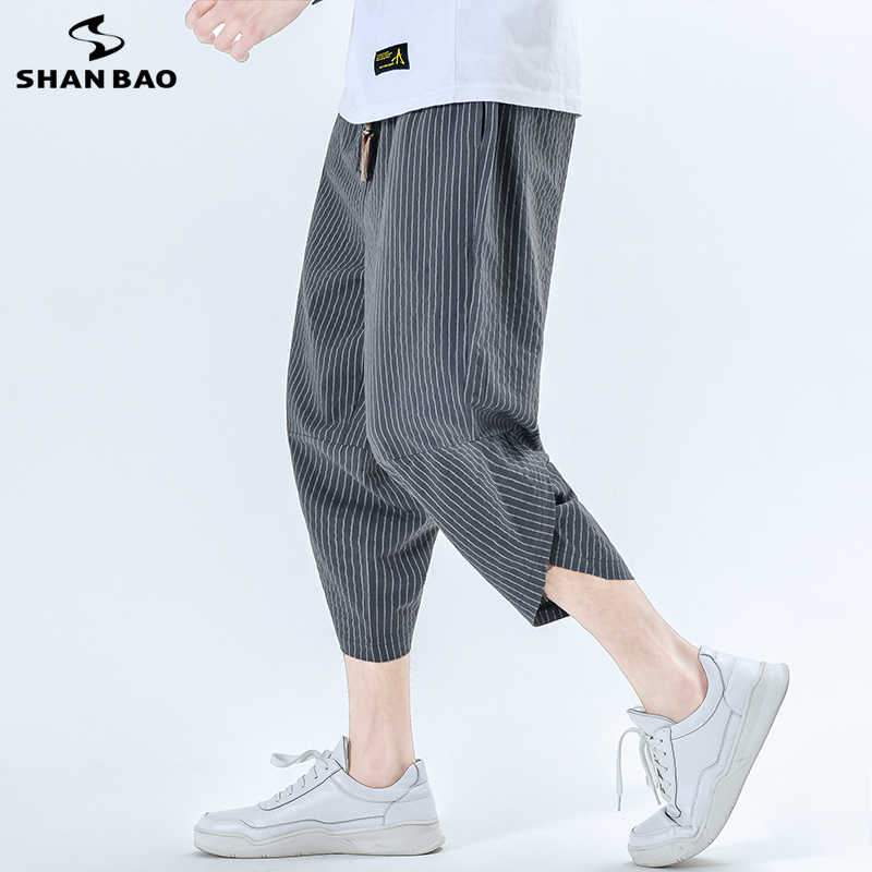 Men's Casual Loose Striped Cropped Pants 2020 Summer Personality Beaded Elastic Waist Chinese Style Cotton Linen Casual Pants