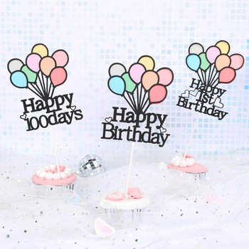 Cake Toppers DIY baby Girl Happy Birthday 1st Cupcake Topper Cake Flags Kids Boys Birthday Wedding Bride Party Baking Decor cake toppers flags hot air balloon star moon rainbow cake topper kids happy birthday wedding baby shower baking party diy xmas