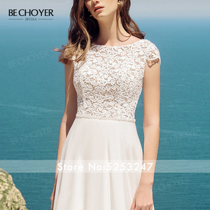 Image 5 - Женское свадебное платье трапеция BECHOYER, элегантное кружевное платье трапеция с круглым вырезом и рукавами крылышками, с прозрачным поясом, модель 2020, AB41