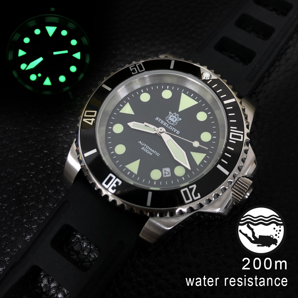 STEELDIVE 1986 Automatic Watch Of Man 41mm Steel 8215 Men Wristwatch Sapphire Crystal Aluminum Bezel Mechanical Watch Dive 200m