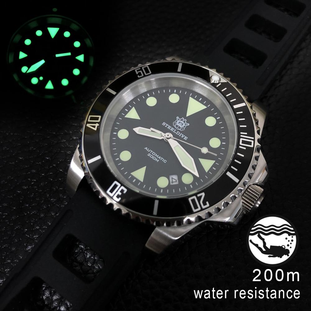 STEELDIVE 1986 Automatic Watch Of Man 41mm Steel 8215 Men Wristwatch Sapphire Crystal Aluminum Bezel Mechanical Watch Dive 200m(China)