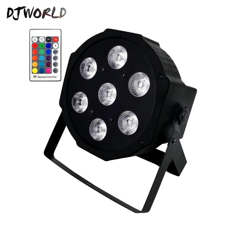 DJWORLD Wireless remote control LED Par 7x12W RGBW 4IN1 LED Wash Light quad Stage Uplighting No Noise Remote control professiona