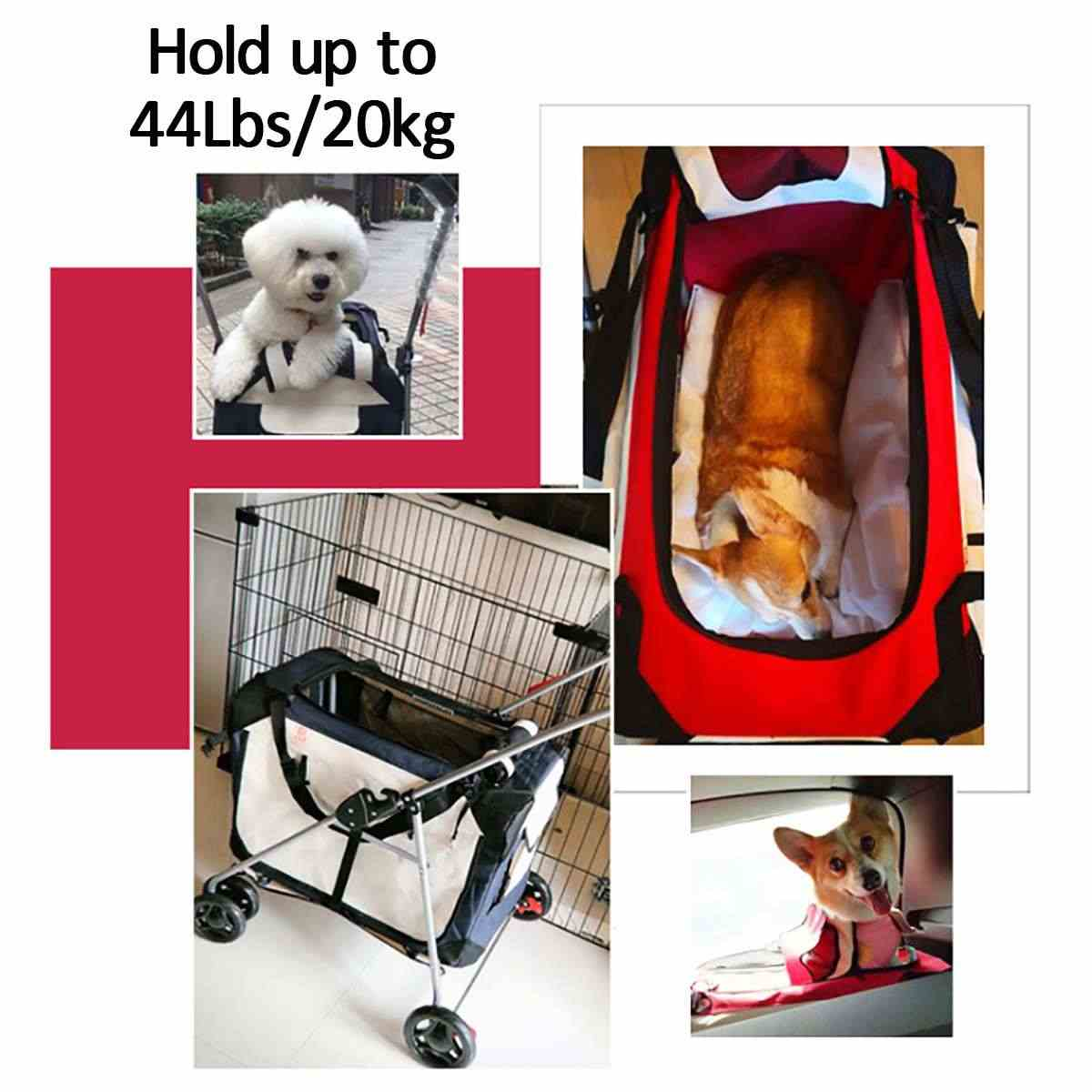 Large Four Wheel Pet Stroller 3-in-1 Soft Sided Detachable Pet Carrier Travel Crate and Pet Stroller Bearing 20KG