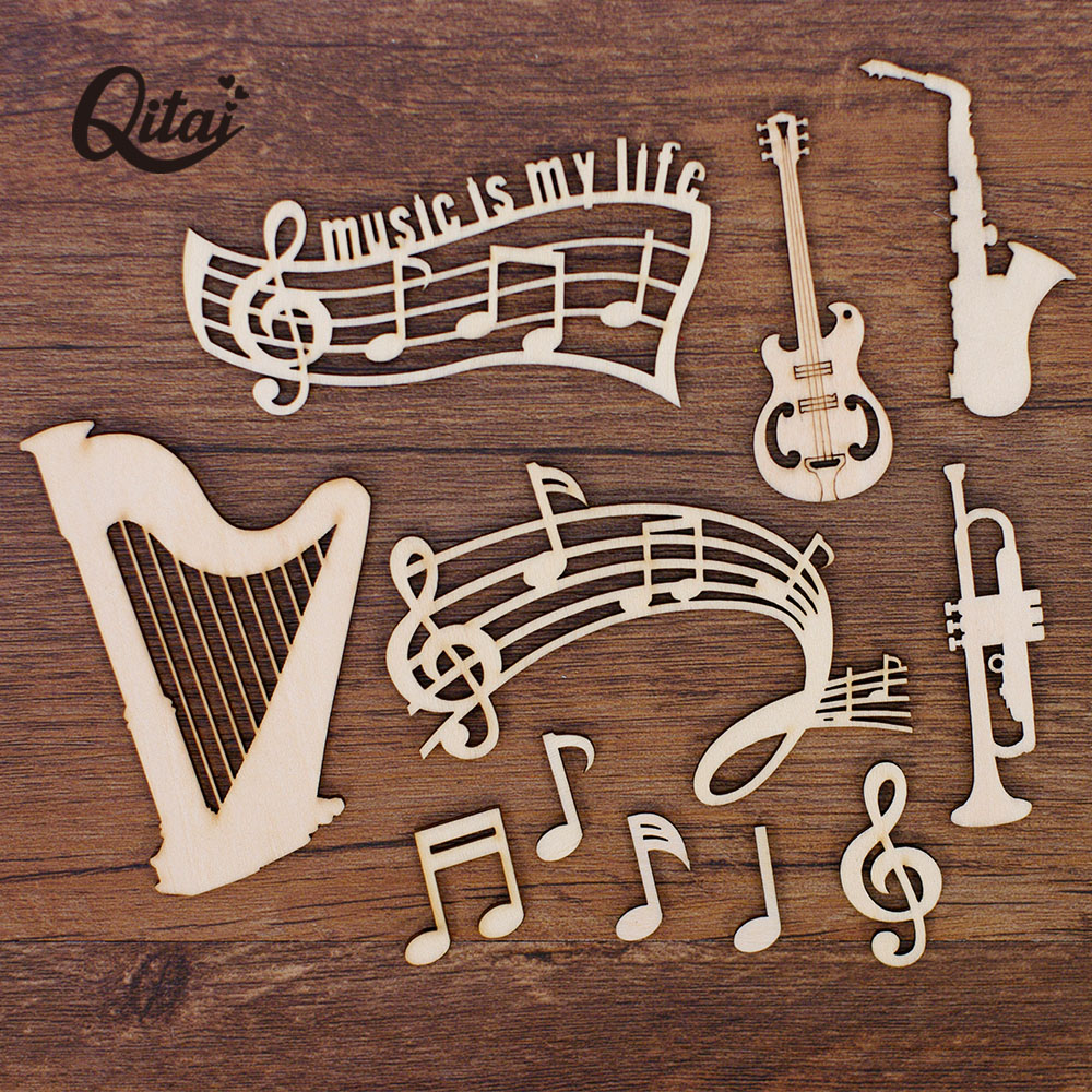 QITAI 55PCS/BOX Guitar/harp/musical Note Wood Crafts Slices For Melody DIY Scrapbooking Accessories  Handmade Home Decor WF322
