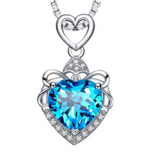 Luxury Female Blue Purple Stone Necklace Crystal Silver Color Wedding Necklaces For Women Cute Love Heart Chain Necklace