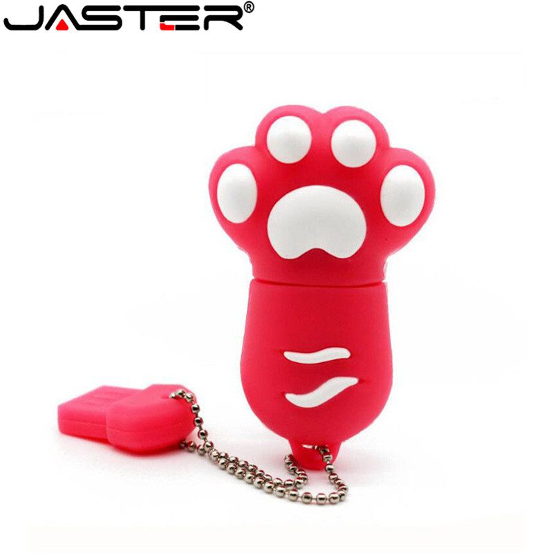JASTER USB Flash Drive Red Cat Paw Pendrive 8GB 16GB 32GB USB 2.0 Flash Memory Stick Cartoon Pen Drive