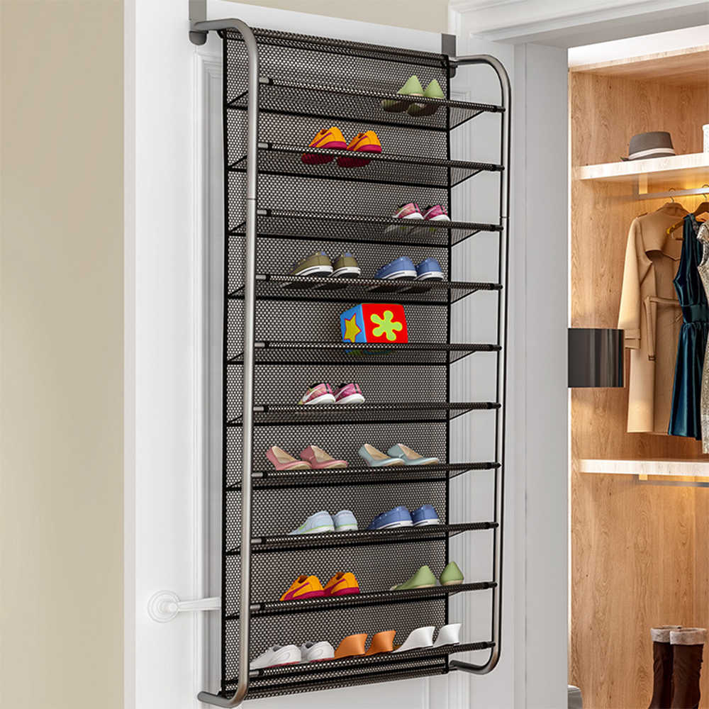 DIDIHOU 36 Pair Atas Pintu Tergantung Rak Sepatu 10 Tingkat Sepatu Penyusun Dinding Sepatu Rak Gantung 1Pcs
