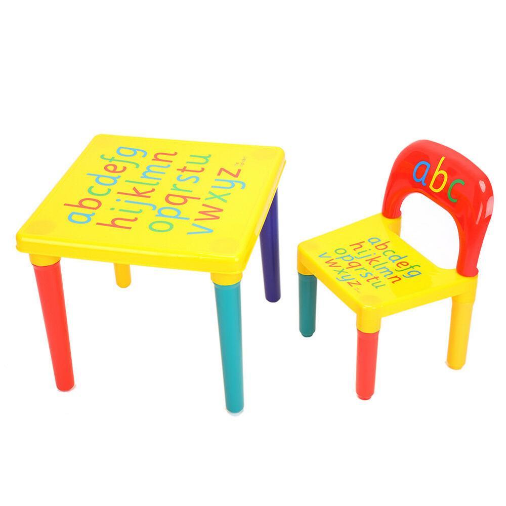 Alphabet ABC Children's Desk And Chair Set Child Kids Study Printing Table Set