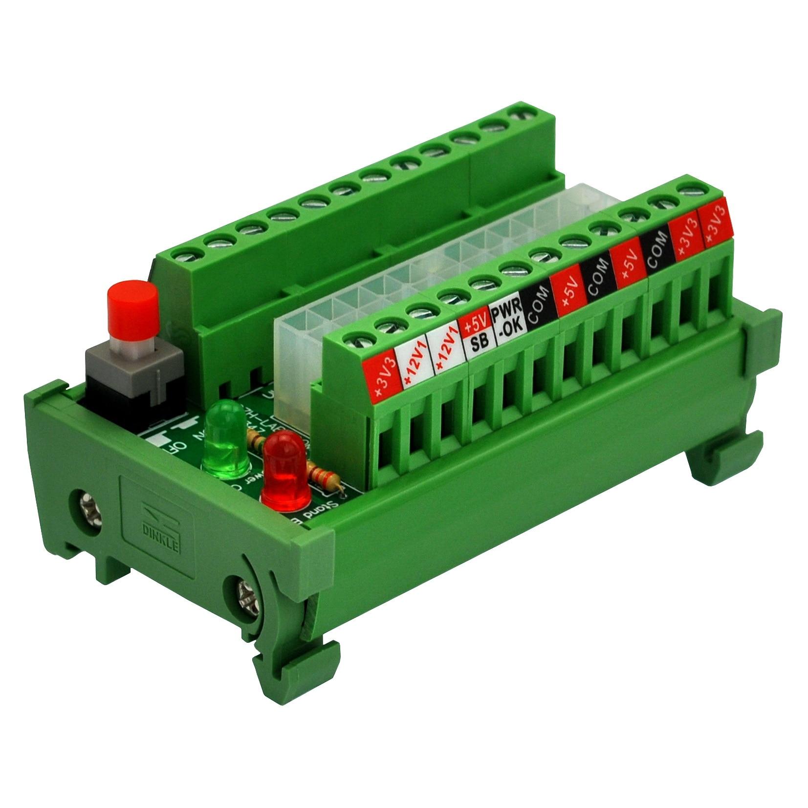 DIN Rail Mount 24/20-pin ATX DC Power Supply Breakout Board Module