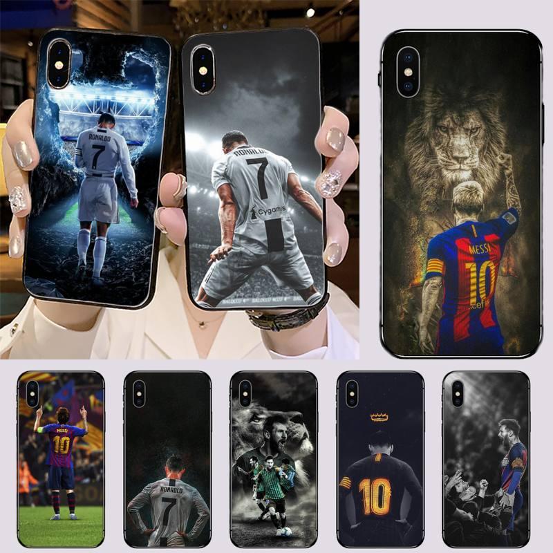CR7 Cristiano Ronaldo Lionel Messi Black Cell Phone Case for iPhone 11 12 pro XS MAX 8 7 6 6S Plus X 5S SE 2020 XR