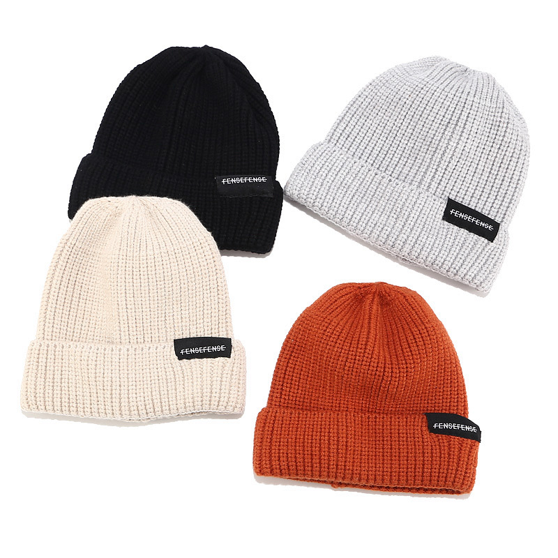New Women street casual knit hat female autumn and winter hip hop melon cap male patch letter wool landlord cap   Skullies     beanies