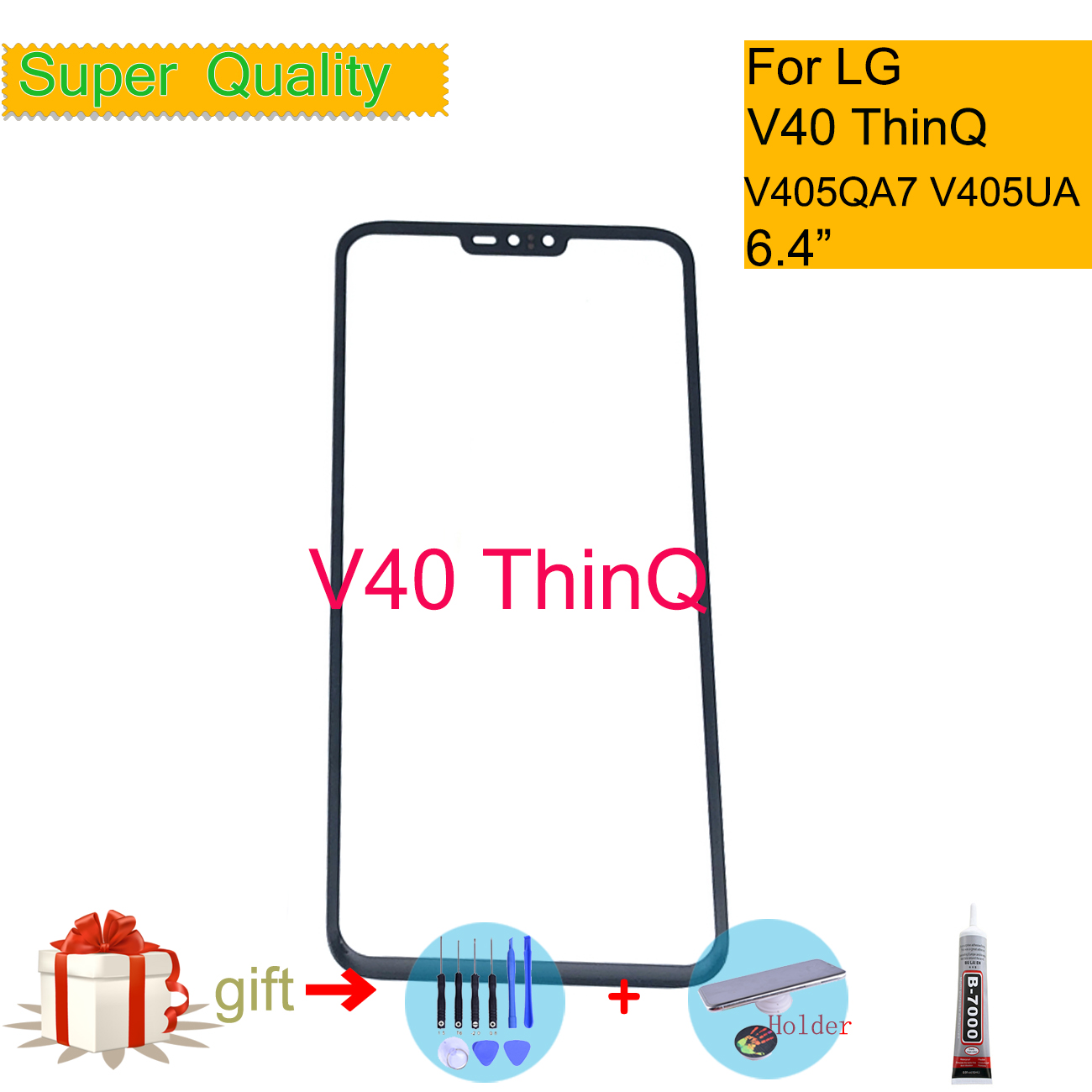 For LG V40 ThinQ V405QA7 V405UA V405TAB Touch Screen Front Glass Panel Front Outer Glass Lens For LG V40 LCD Glass Replacement